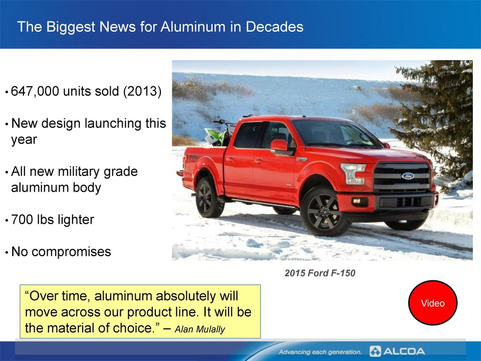 lighter No compromises 2015 Ford F-150 Over time, aluminum absolutely will