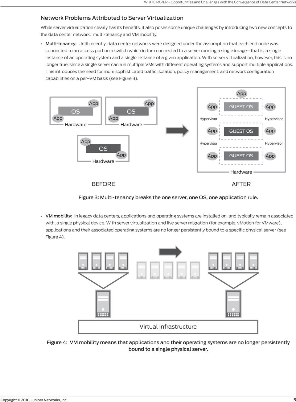 Multi-tenancy: Until recently, data center networks were designed under the assumption that each end node was connected to an access port on a switch which in turn connected to a server running a