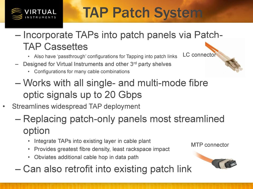 20 Gbps Streamlines widespread TAP deployment Replacing patch-only panels most streamlined option Integrate TAPs into existing layer in cable plant Provides