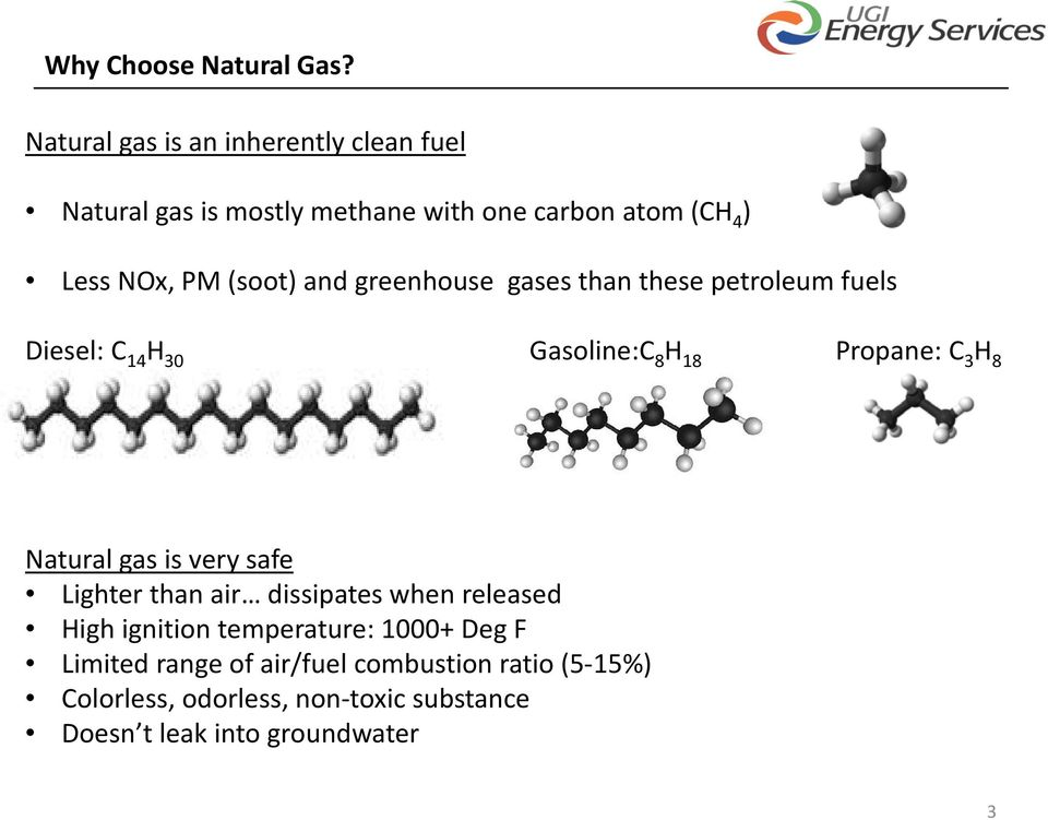 and greenhouse gases than these petroleum fuels Diesel: C 14 H 30 Gasoline:C 8 H 18 Propane: C 3 H 8 Natural gas is