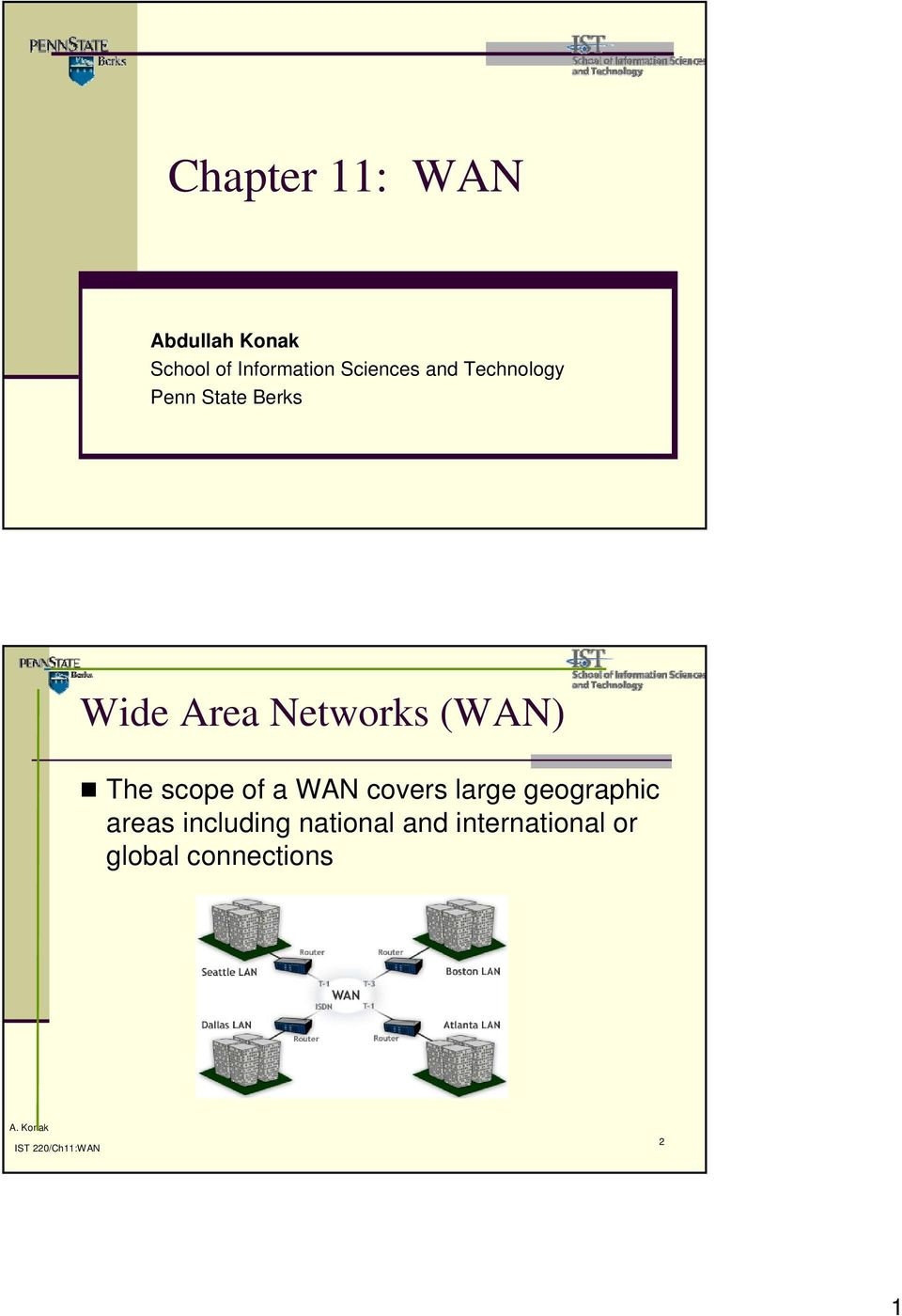 Networks (WAN) The scope of a WAN covers large geographic