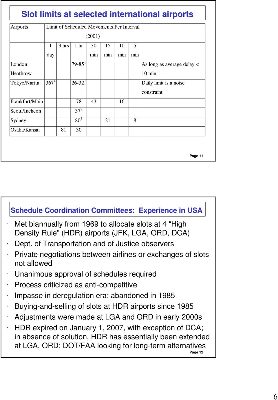 in USA Met biannually from 1969 to allocate slots at 4 High Density Rule (HDR) airports (JFK, LGA, ORD, DCA) Dept.