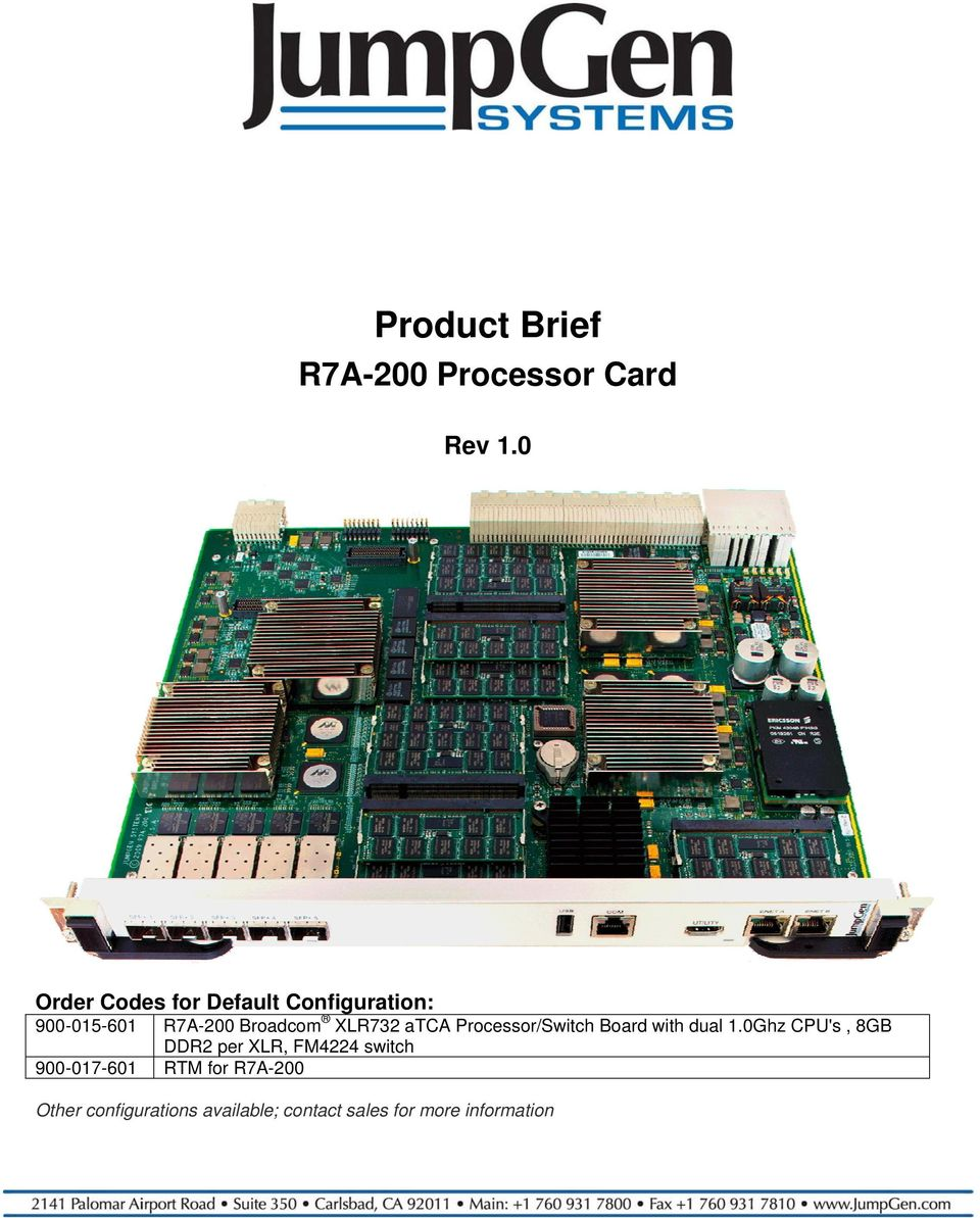 Broadcom XLR732 atca Processor/Switch Board with dual 1.