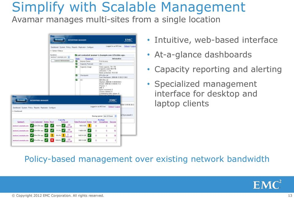 Capacity reporting and alerting Specialized management interface for