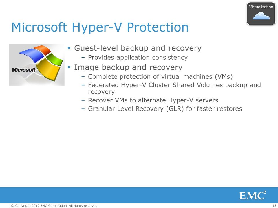 virtual machines (VMs) Federated Hyper-V Cluster Shared Volumes backup and