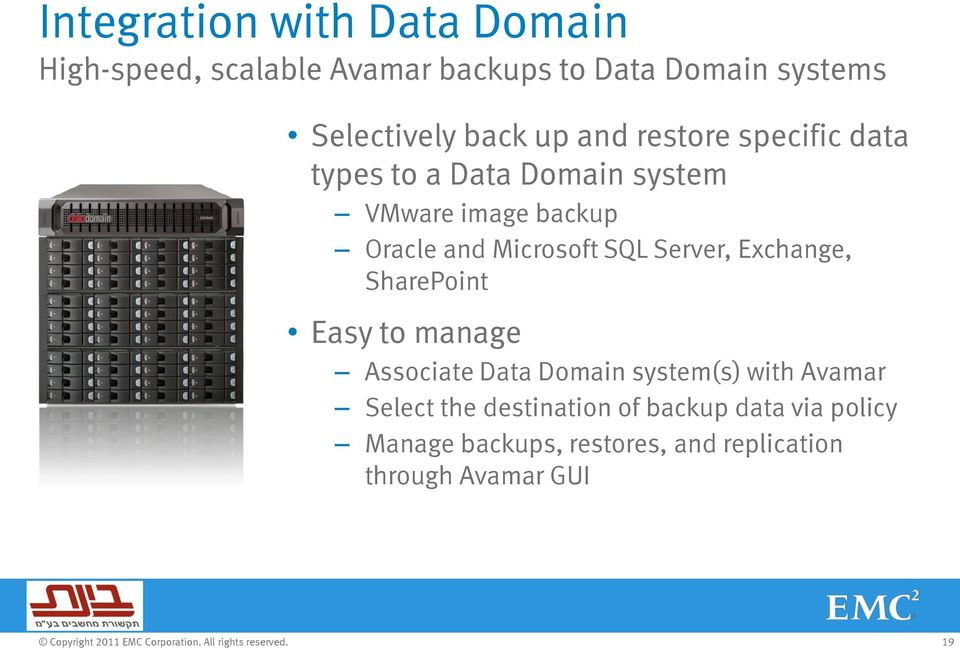 Microsoft SQL Server, Exchange, SharePoint Easy to manage Associate Data Domain system(s) with Avamar