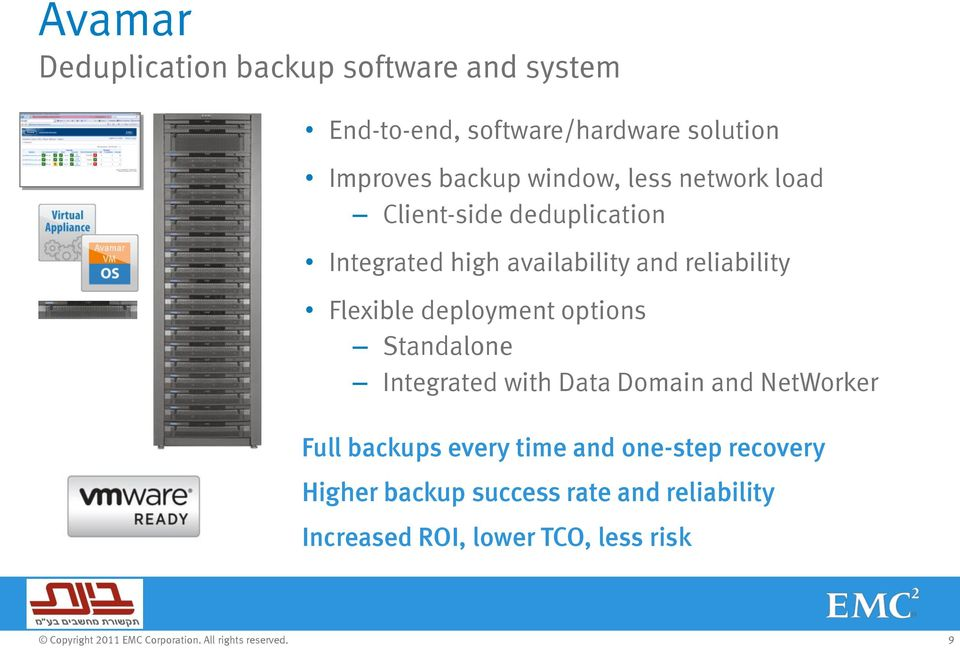 reliability Flexible deployment options Standalone Integrated with Data Domain and NetWorker Full
