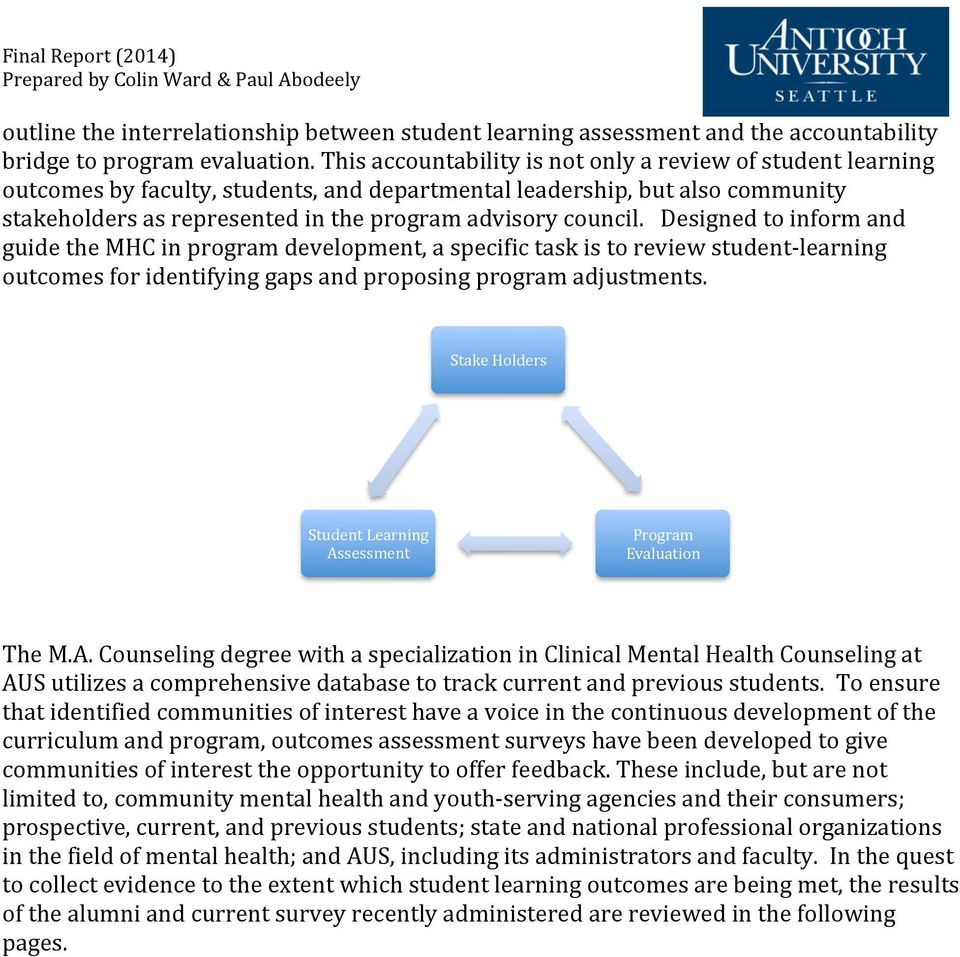 Designed to inform and guide the MHC in program development, a specific task is to review student- learning outcomes for identifying gaps and proposing program adjustments.