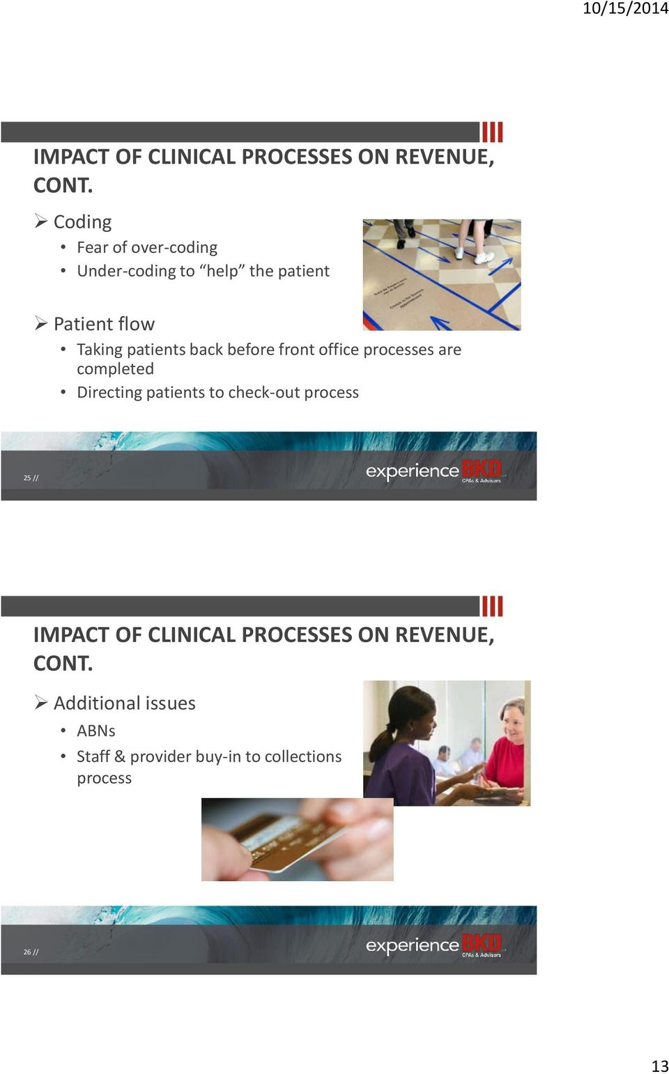 back before front office processes are completed Directing patients to check-out process