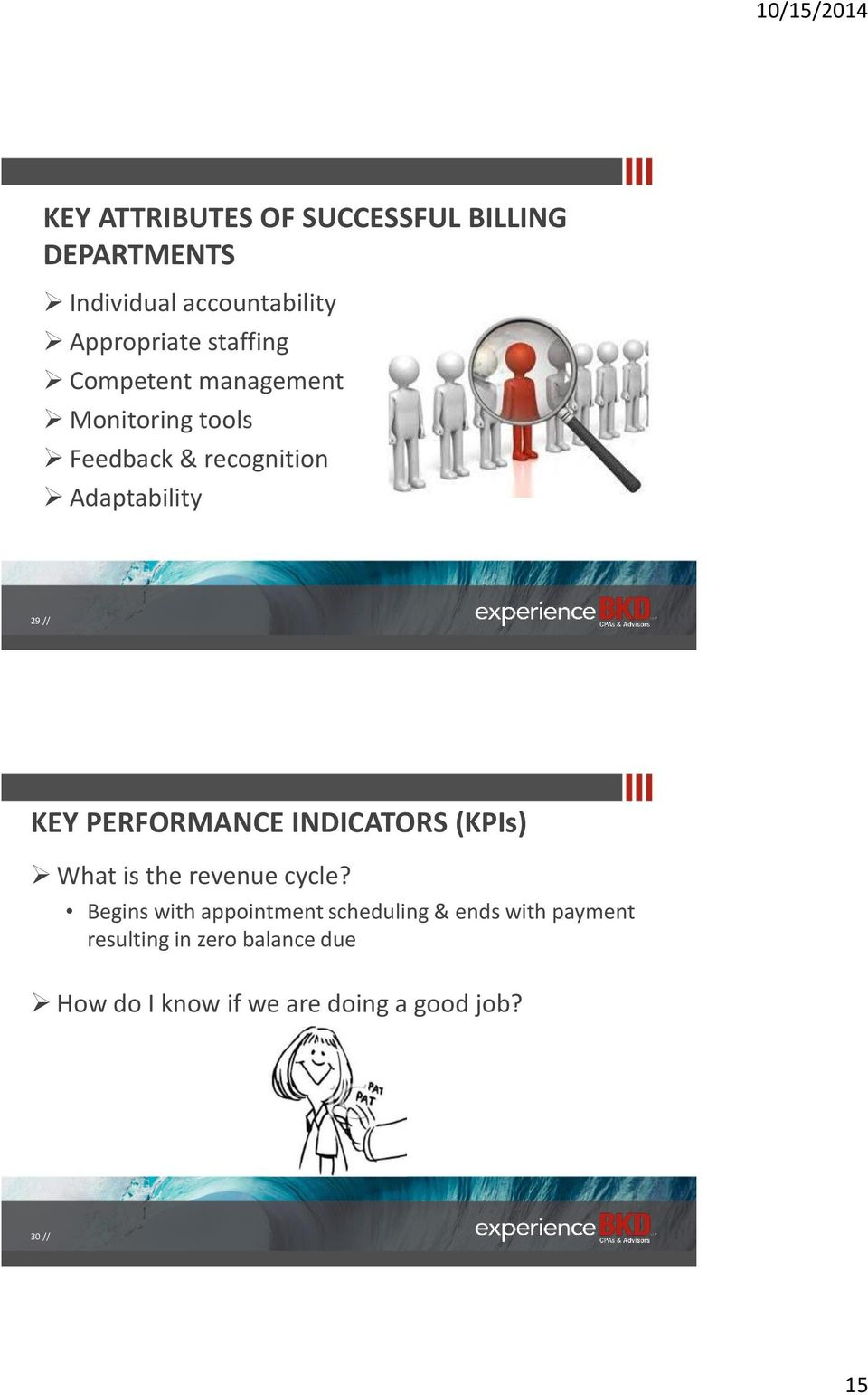 PERFORMANCE INDICATORS (KPIs) What is the revenue cycle?