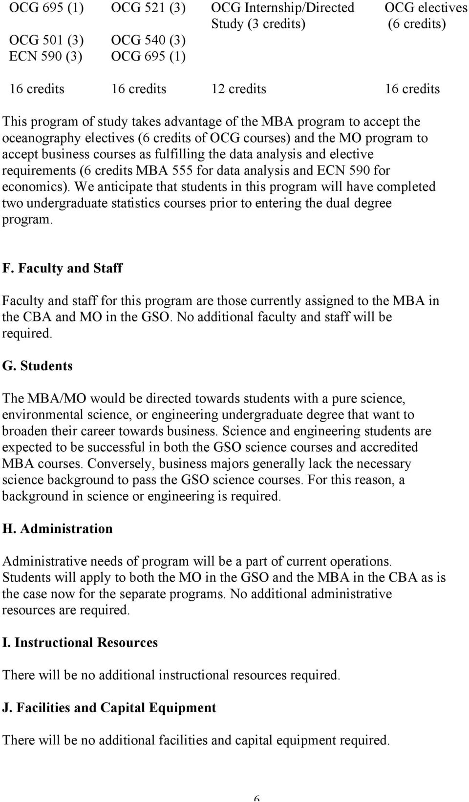 requirements (6 credits MBA 555 for data analysis and ECN 590 for economics).