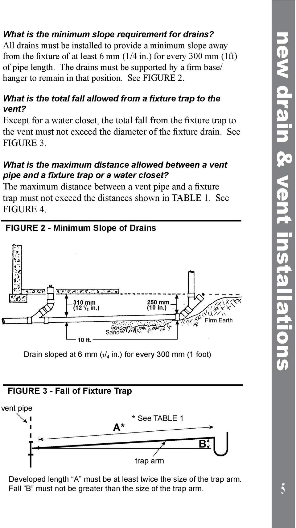 Except for a water closet, the total fall from the fixture trap to the vent must not exceed the diameter of the fixture drain. See FIGURE 3.
