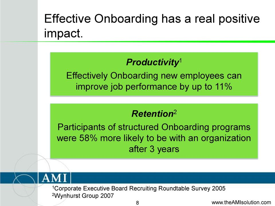 to 11% Retention 2 Participants of structured Onboarding programs were 58% more likely
