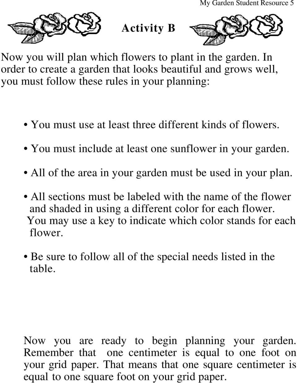 You must include at least one sunflower in your garden. All of the area in your garden must be used in your plan.