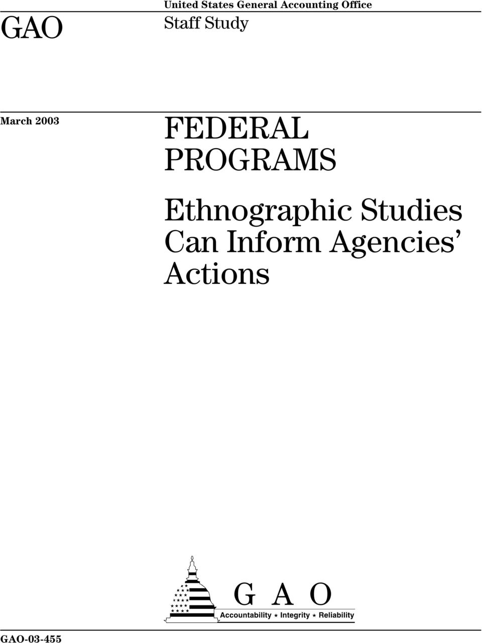 FEDERAL PROGRAMS Ethnographic