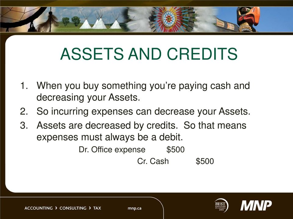 Assets. 2. So incurring expenses can decrease your Assets. 3.