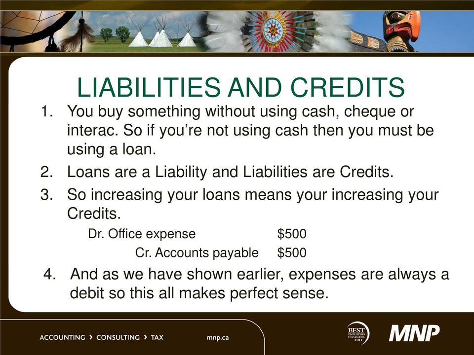 Loans are a Liability and Liabilities are Credits. 3.