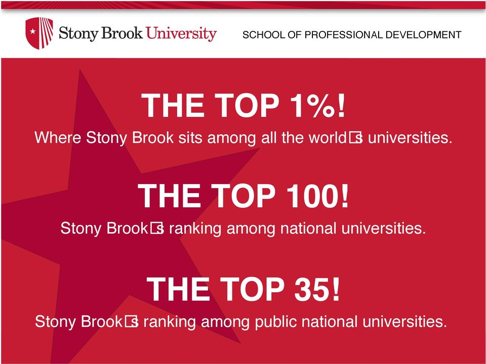 THE TOP 100 Stony Brook s ranking among national