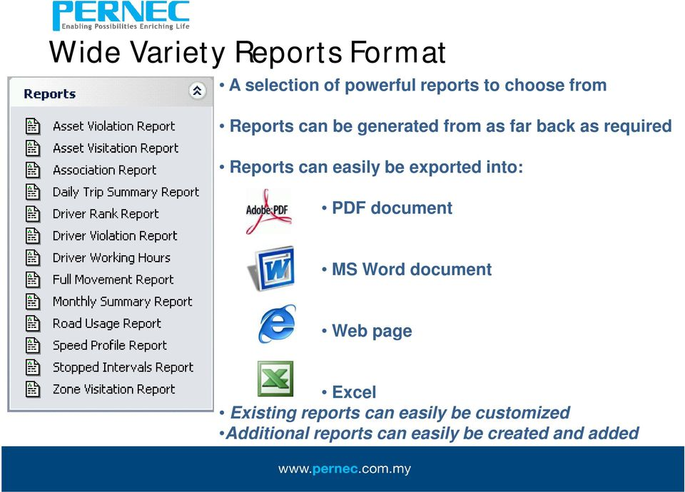 exported into: PDF document MS Word document Web page Excel Existing