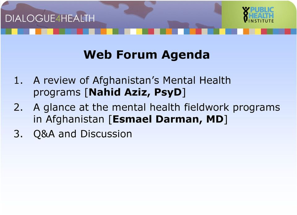 A glance at the mental health fieldwork programs