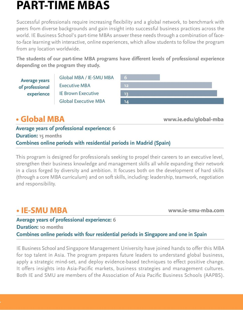 IE Business School s part-time MBAs answer these needs through a combination of faceto-face learning with interactive, online experiences, which allow students to follow the program from any location
