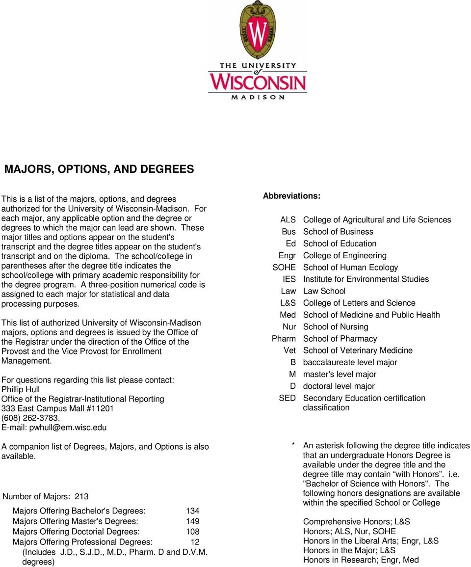 These major titles and options appear on the student's transcript and the degree titles appear on the student's transcript and on the diploma.