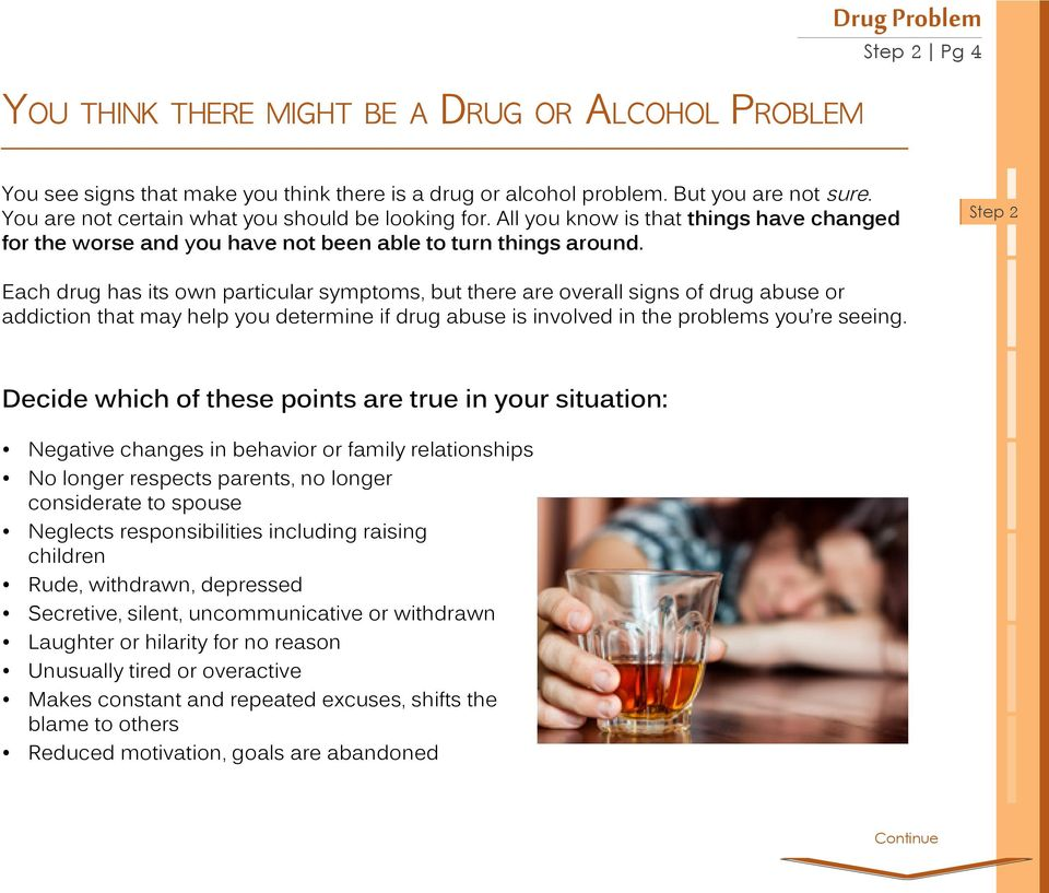 Step 2 Each drug has its own particular symptoms, but there are overall signs of drug abuse or addiction that may help you determine if drug abuse is involved in the problems you re seeing.
