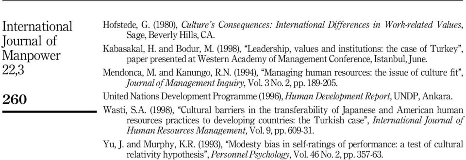 (1994), ``Managing human resources: the issue of culture fit'', Management Inquiry, Vol. 3 No. 2, pp. 189-205. United Nations Development Programme (1996), Human Development Report, UNDP, Ankara.