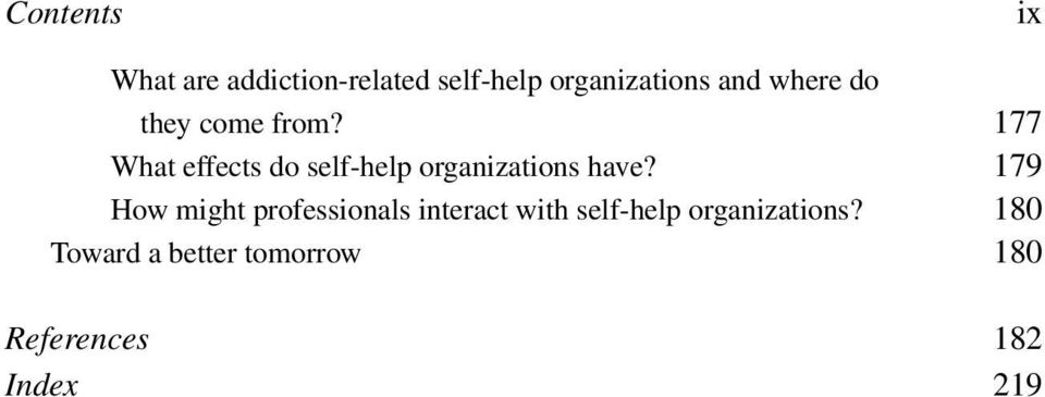 177 What effects do self-help organizations have?