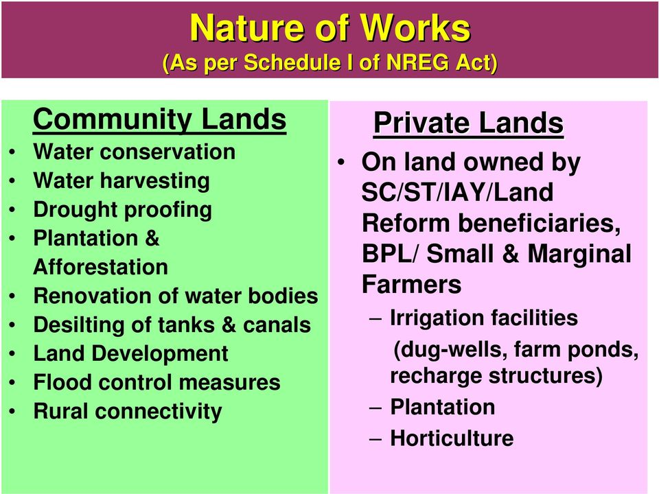 Flood control measures Rural connectivity Private Lands On land owned by SC/ST/IAY/Land Reform beneficiaries,