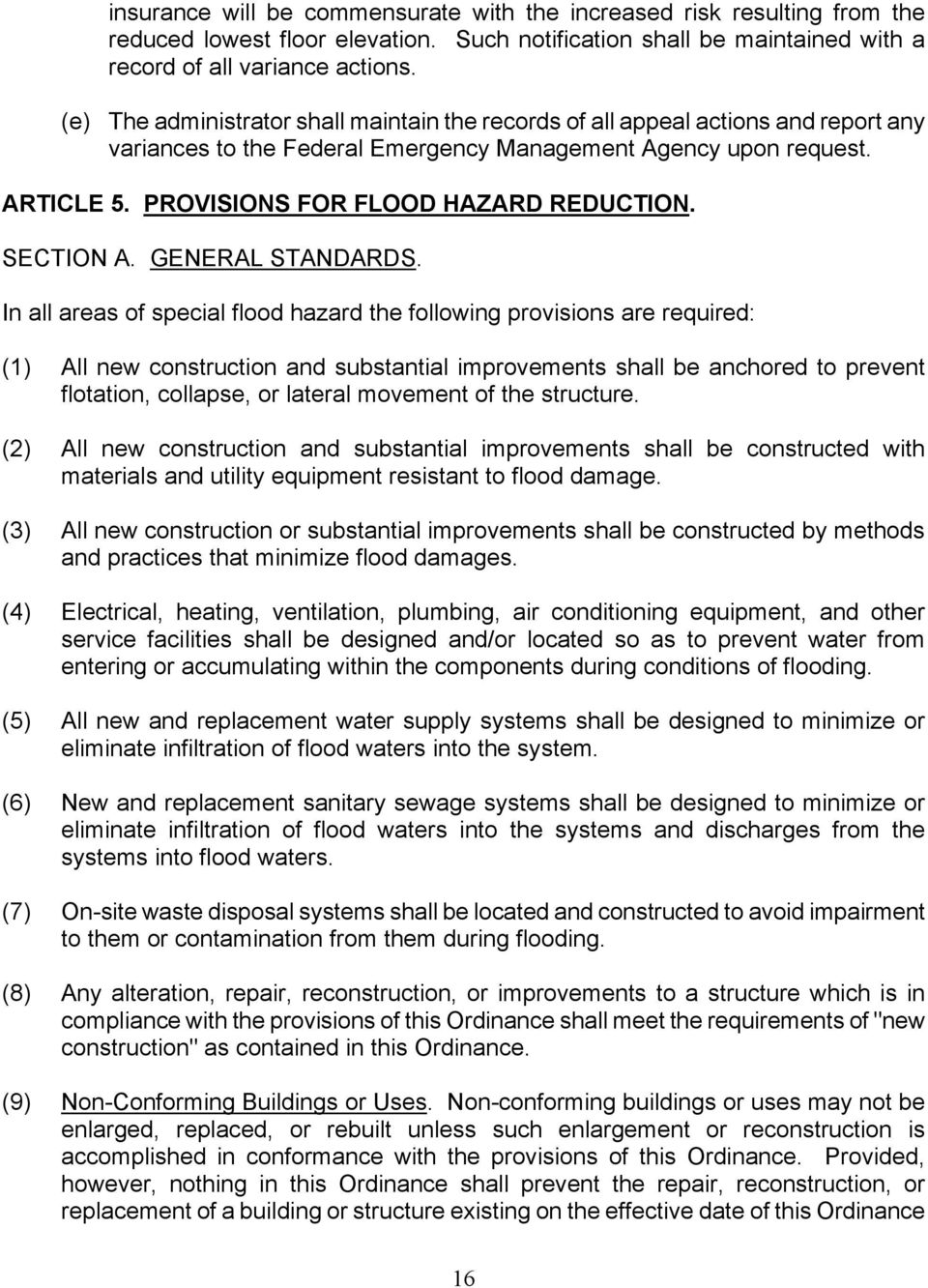 PROVISIONS FOR FLOOD HAZARD REDUCTION. SECTION A. GENERAL STANDARDS.