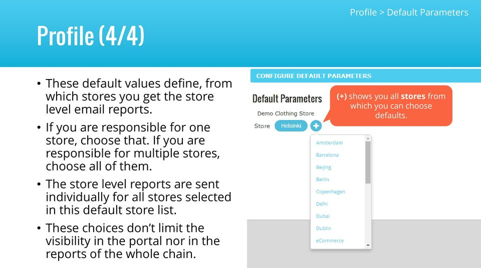 The store level reports are sent individually for all stores selected in this default store list.