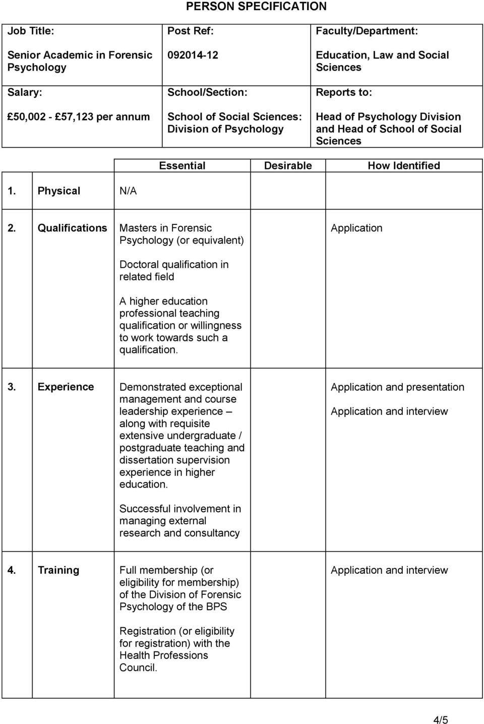 Qualifications Masters in Forensic Psychology (or equivalent) Application Doctoral qualification in related field A higher education professional teaching qualification or willingness to work towards