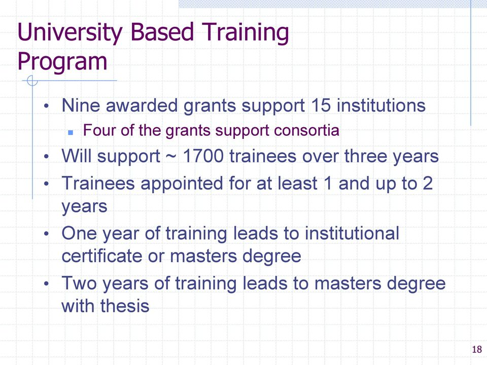 appointed for at least 1 and up to 2 years One year of training leads to institutional