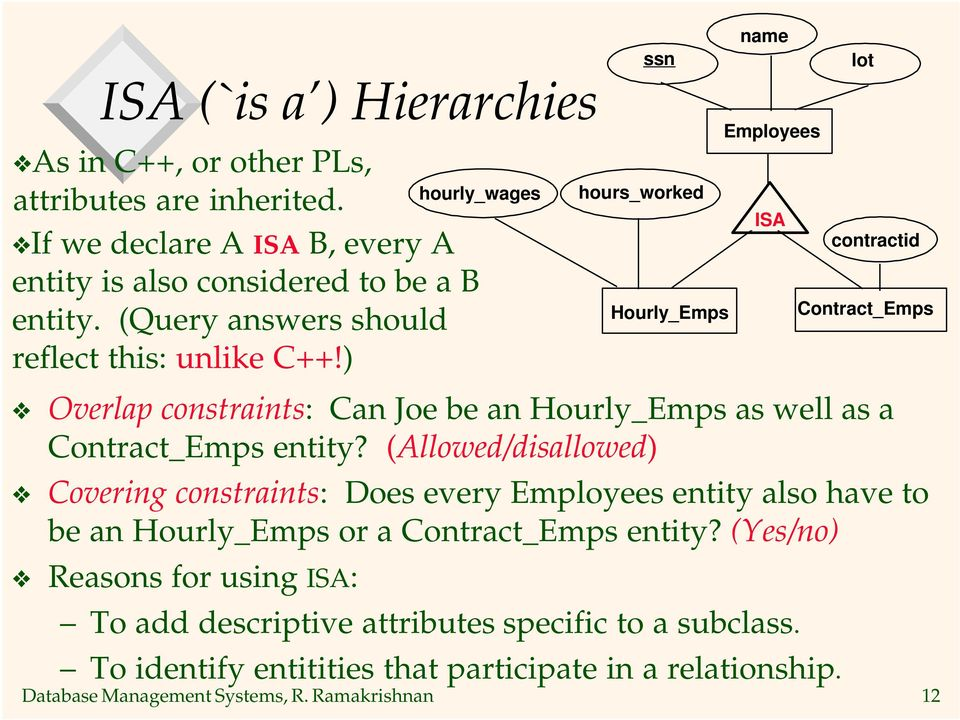 Ramakrishnan 12 ISA contractid Overlap constraints: Can Joe be an Hourly_Emps as well as a Contract_Emps entity?