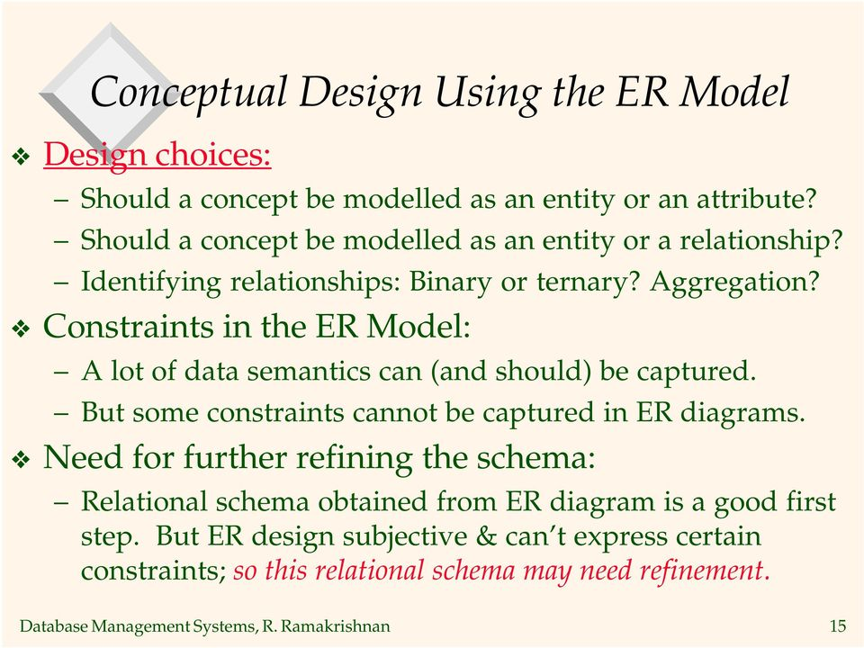Constraints in the ER Model: A of data semantics can (and should) be captured. But some constraints cannot be captured in ER diagrams.