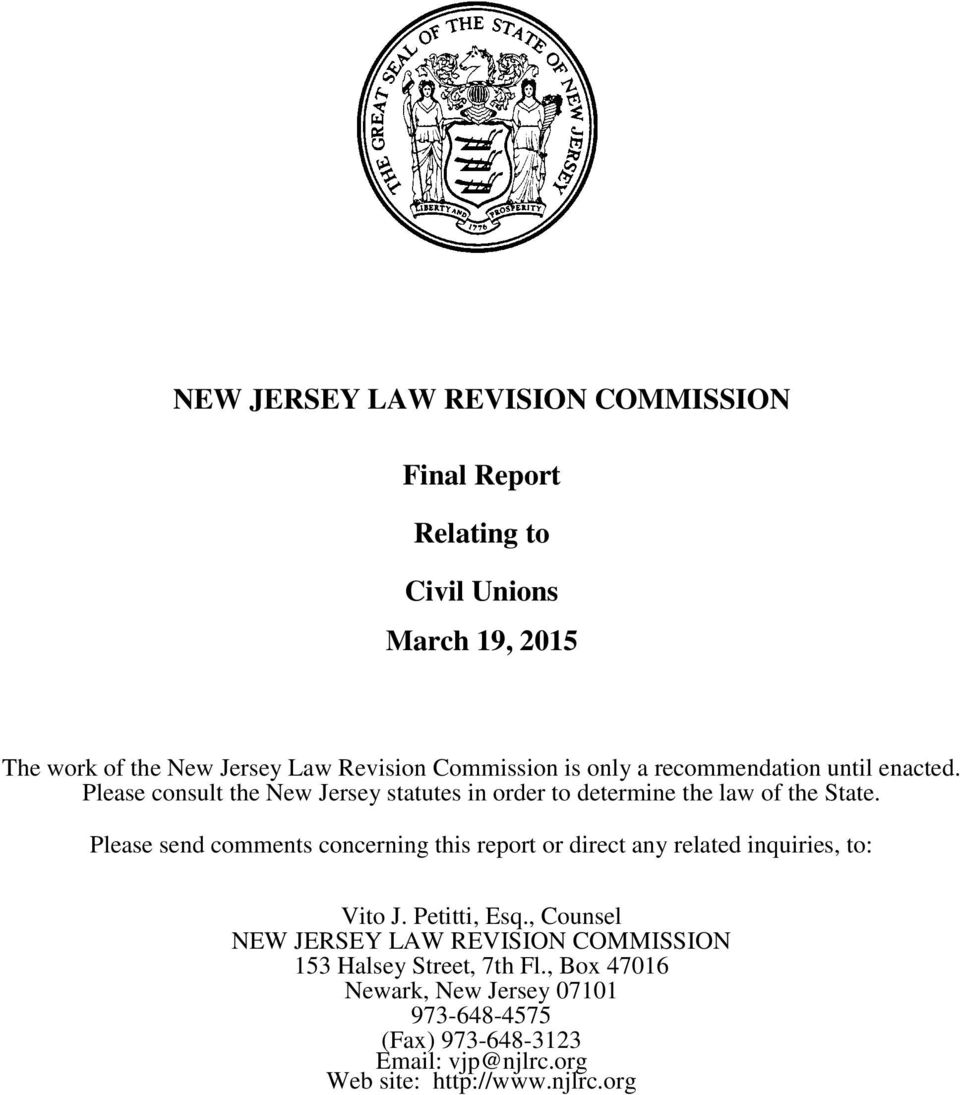 Please send comments concerning this report or direct any related inquiries, to: Vito J. Petitti, Esq.