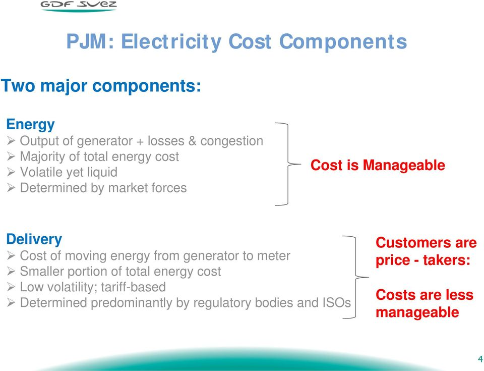 Cost of moving energy from generator to meter Smaller portion of total energy cost Low volatility;