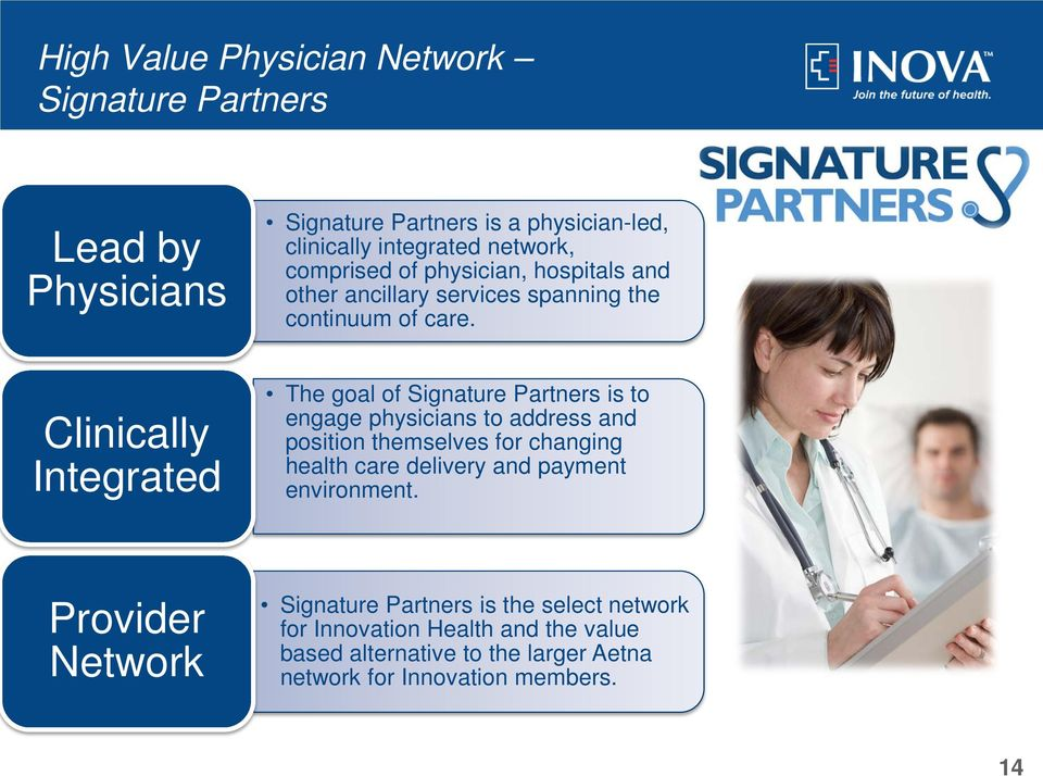 Clinically Integrated The goal of Signature Partners is to engage physicians to address and position themselves for changing health care