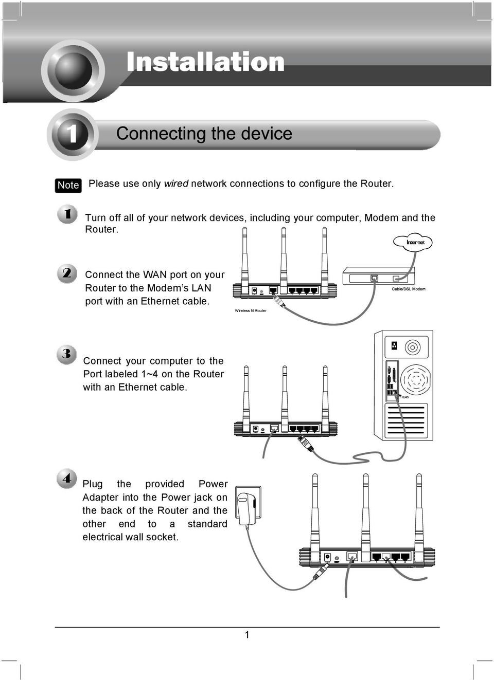 Connect the WAN port on your Router to the Modem s LAN port with an Ethernet cable.