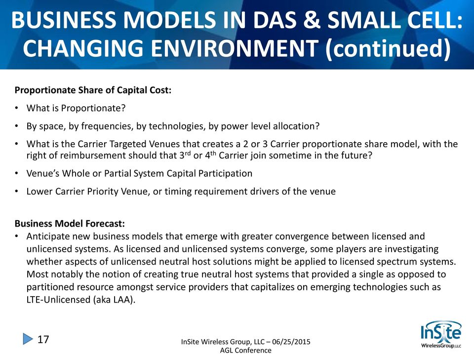 Venue s Whole or Partial System Capital Participation Lower Carrier Priority Venue, or timing requirement drivers of the venue Business Model Forecast: Anticipate new business models that emerge with