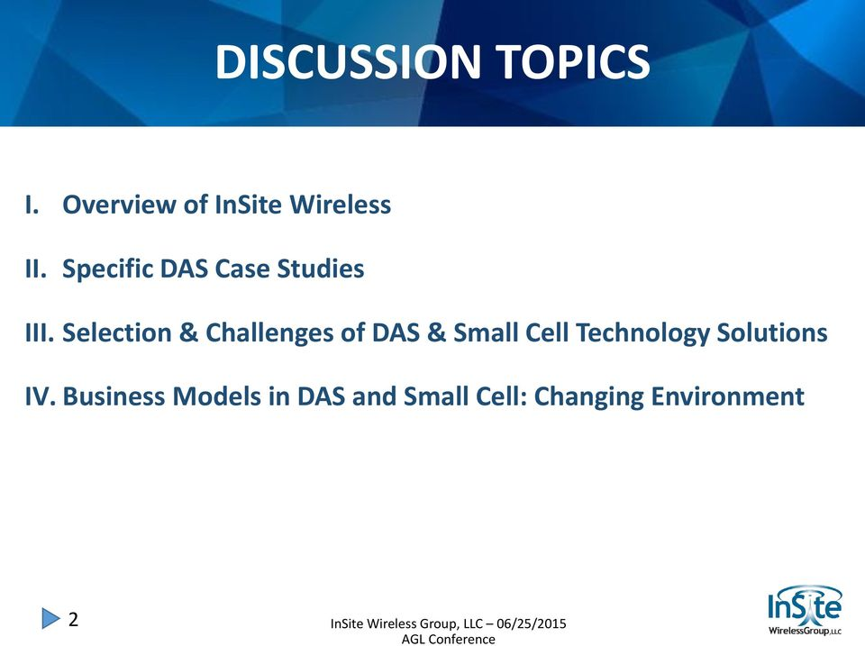 Selection & Challenges of DAS & Small Cell Technology