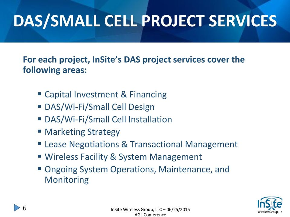 DAS/Wi-Fi/Small Cell Installation Marketing Strategy Lease Negotiations & Transactional