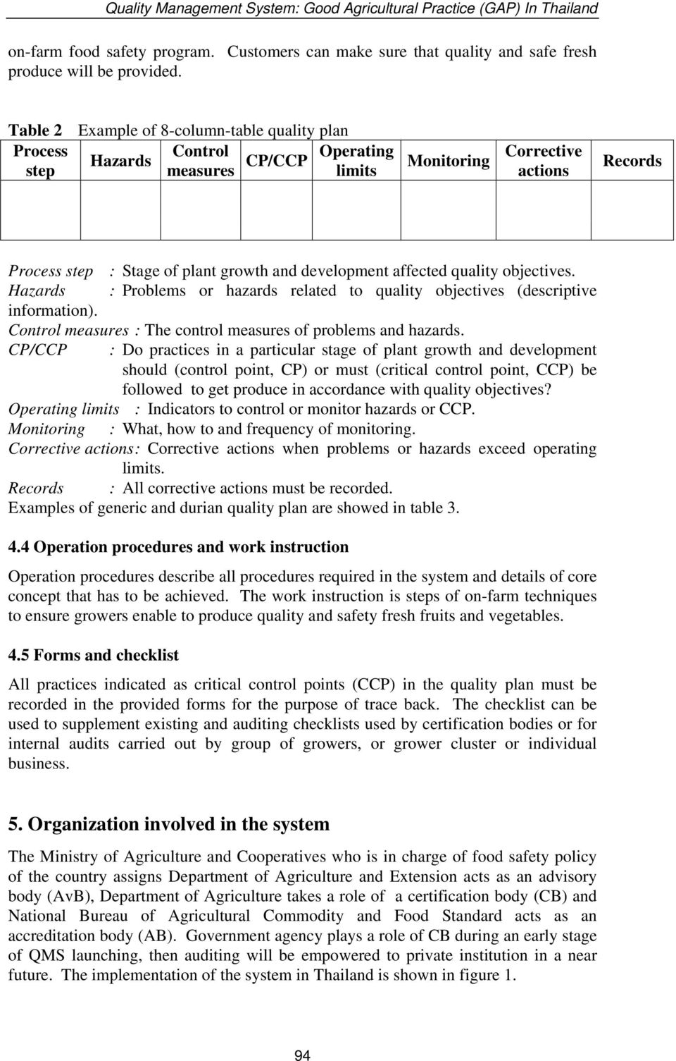 affected quality objectives. Hazards : Problems or hazards related to quality objectives (descriptive information). Control measures : The control measures of problems and hazards.