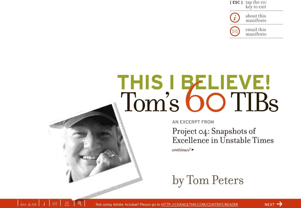 Tom s 60 TIBs AN EXCERPT FROM Project 04: Snapshots of Excellence in