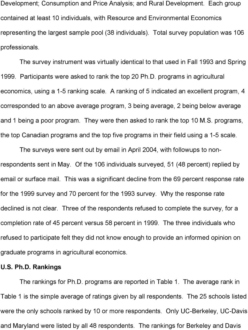 The survey instrument was virtually identical to that used in Fall 1993 and Spring 1999. Participants were asked to rank the top 20 Ph.D. programs in agricultural economics, using a 1-5 ranking scale.
