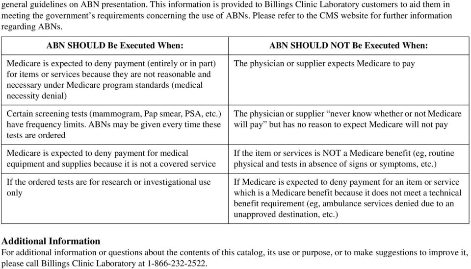 ABN SHOULD Be Executed When: Medicare is expected to deny payment (entirely or in part) for items or services because they are not reasonable and necessary under Medicare program standards (medical