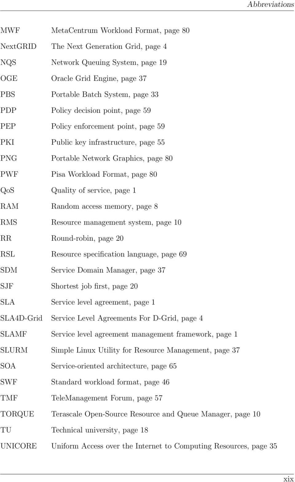service, page 1 RAM Random access memory, page 8 RMS Resource management system, page 10 RR Round-robin, page 20 RSL Resource specification language, page 69 SDM Service Domain Manager, page 37 SJF