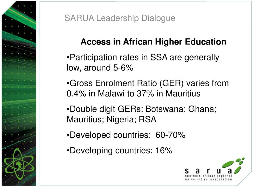 4% in Malawi to 37% in Mauritius Double digit GERs: Botswana; Ghana;