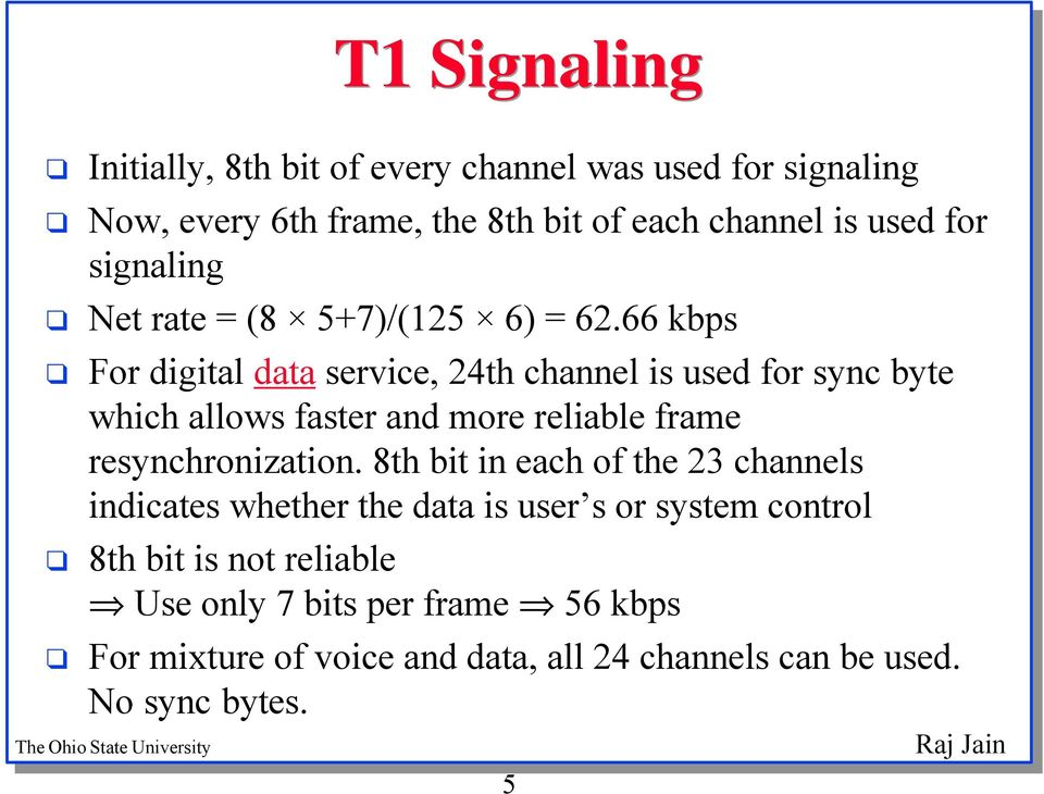 66 kbps For digital data service, 24th channel is used for sync byte which allows faster and more reliable frame resynchronization.